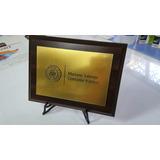 Placa De Acrílico Bronce/plata Grabadas Con Base De Madera