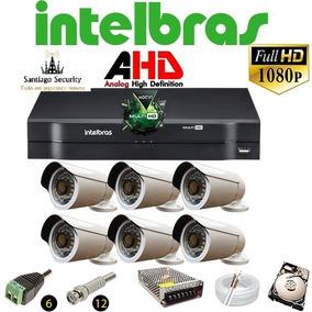 Kit Cftv 6 Cameras Infra Ahd720p Dvr 8 Canais Intelbras+hd