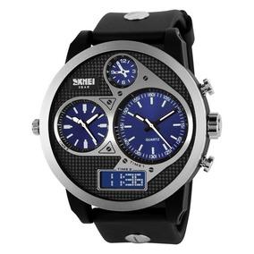 Relógio Masculino Skmei 1033 Anadigi Preto E Azul Com Nf