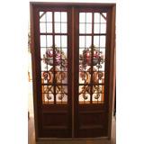 Puerta Doble De Cedro Vidrio Repartido Con Vitral A Reparar