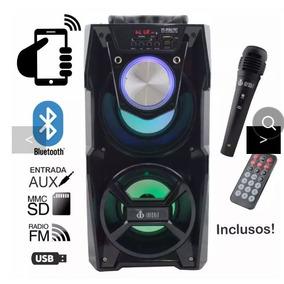 Caixa Som Amplificada Led Microfone Karaoke Bluetooth Usb Fm