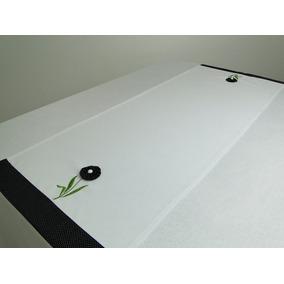 Trilho Para Mesa Flower Com Fuxico 45x97cm Branco/poá Preto