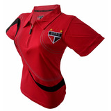Camisa Feminina São Paulo Oficial Gola Polo - Promoção