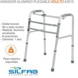 Andador Ortopédico Aluminio Plegable Silfab A3015 Adulto