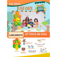 Kit Festa Safari Happy Day Festa Em Casa Decoração