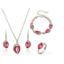 Collar,aretes, Pulsera Y Anillo Rosa Cristal Swarov Elements