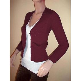 Saquito Sweater De Hilo Y Lycra Color Bordó
