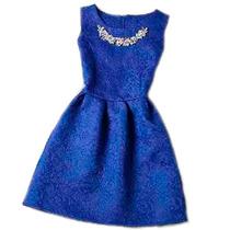 Vestido Gode Feminino Azul Social Curto Noite Romantico
