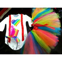 Disfraz Payaso Circo Galera Body Y Pollera Tutu Multicolor