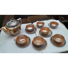 Juego De Antiguas Tazas De Té Porcelana Japonesa Nacarada.