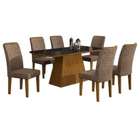 Conjunto Sala Jantar Rufato Lunara 6 Cadeiras Tecido Imbuía