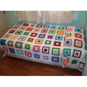 Colcha Cubrecama Tejida A Mano Al Crochet, 100% Artesanal !!