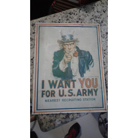 Placa De Lata I Want You For U.s. Army 31 X 41 Cm