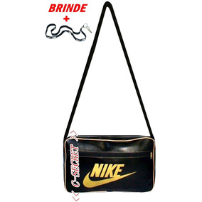 Bolsa Carteiro Modelo Nike Masculino E Feminino Preto+brinde