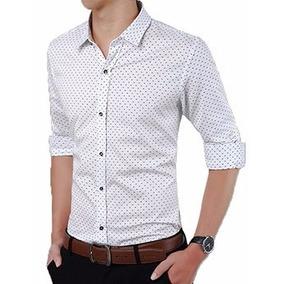 Camisa Social Masculina Slim Fit Bolinha Lançamento.