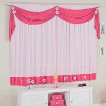 Cortina Infantil Rosa E Pink Quarto De Menina Mix Lar