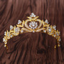 Coroa Tiara Arranjo Cabelo Noiva Dourada Com Cristais Strass