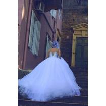 Vestido De Noiva Branco Casamento Tule Bordado Muito Lindo