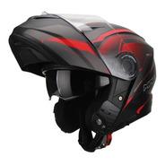 Casco Moto Rebatible Mac Rock Magma Negro Rojo Solomototeam