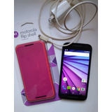Moto G3 Impecable+ Cargador Original+flip Shell Motorola
