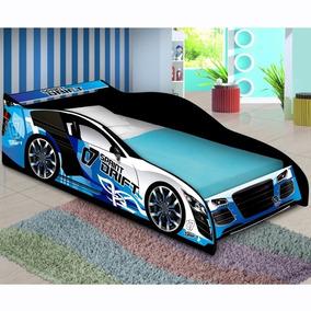Cama Carro 150x70 C Colchão Dia Das Crianças Azul- Loja Movz