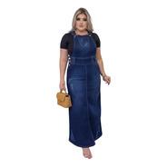 Salopete Jeans Longa Destroyed Moda Evangélica Feminina