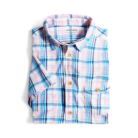 Camisa Manga Corta Hudson Color Siete Para Hombre - Rosa