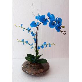 Arranjo De Orquídea Silicone Azul Vaso De Vidro Grande.