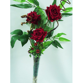 Arranjo Rosas Vaso Vidro Flores Artificiais Artificial Flor
