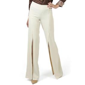 Calça Pantalona Com Fenda Bege Principessa Edith