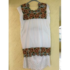 Traje Yucateco Blanco P/ Mujer Con Falda. Talla 34-36