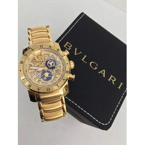 e7717b3aed64b Relógio Bvlgari Subaqua Skeleton Dourado Prata Promoção!