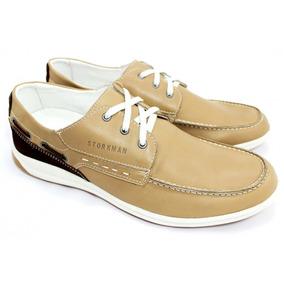 Zapato Hombre De Cuero Con Cordon Color Marron Storkman