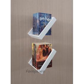 Porta Livros Estante Nicho Parede Branco Laca Kit 2 Pçs
