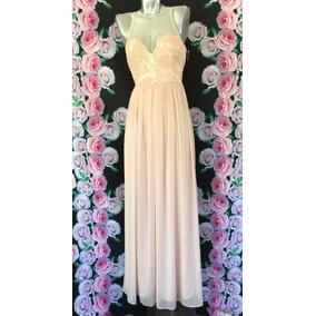 Vestido Largo Color Palo De Rosa Con Encaje Y Transparencia