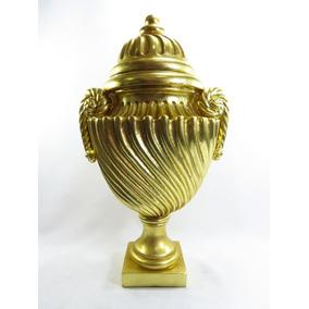 Grande Potiche Dourado Todo Trabalhado Em Alto Relevo Lindo