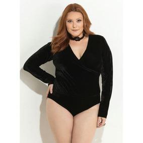 Body Plus Size Preto Em Veludo Quintess