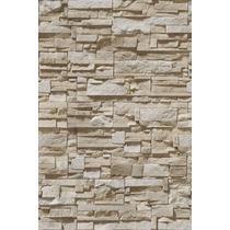 Papel De Parede Pedras 3d Rústica Em Filetes Bege
