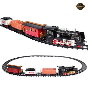 Trem De Brinquedo Maquina Locomotiva Com Trilhos E Vagões