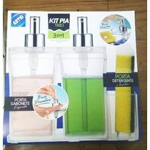 Kit Acessórios P/pia 3 Em 1 Acrílico Sabão Detergente Bucha