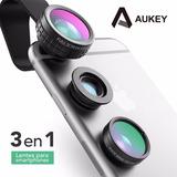 Lente 3 En 1 Original Aukey Ojo De Pez + Macro + Wide