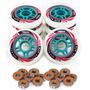 Kit 8 Roda Crème Patins Roller Inline 80mm + 16 Rolamentos