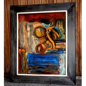cuadro moderno con marco en tela pintura oleo y acrlico