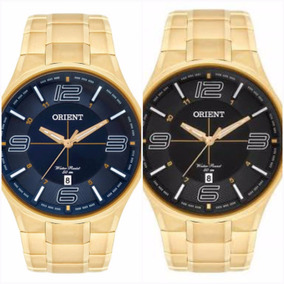 Relógio Orient Dourado Todo Em Aço 50 Metros Mgss1136