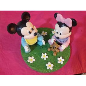 Minnie Y Michey Bebé En Porcelana Fría