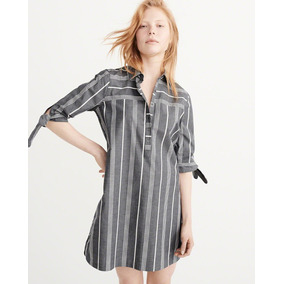 Vestido Rayado Abercrombie&fitch 100% Algodon Talle S Camisa