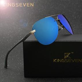 Óculos De Sol Azul Aviador Importado Kingseven Caixa Case. d3c9d4979f