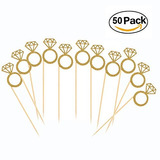 50 Pack Cupcake Toppers Gold Glitter Mini Diamante Anillo To