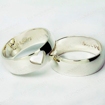 Aliança Compromisso Namoro Prata Com Coração Vazado