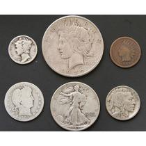 Monedas Eeuu 1903 Indio Bufalo Plata Cobre Antigua Lote K1n